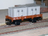 Jouef ref. 645 2 axles dropside wagon Jho 104568 SNCF, load of 2 grey containers
