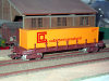 Jouef ref. 6615 bogie bolster wagon Ro2yw 194921 SNCF brown, container Calberson