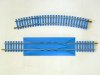 Jouef curved track section and re-railer straight track section with light blue sleepers